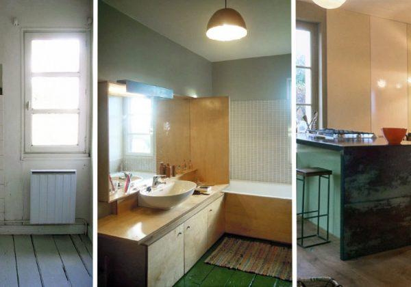 Avant/après cuisine & salle de bain : oser le vert sur le parquet et ...