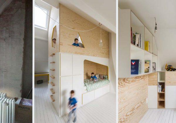 Une chambre d\'enfant sous les combles avec une vraie cabane ...