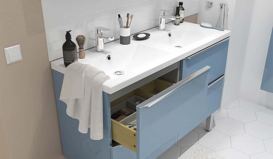 Les tiroirs sont à ouverture totale pour attraper facilement les produits.