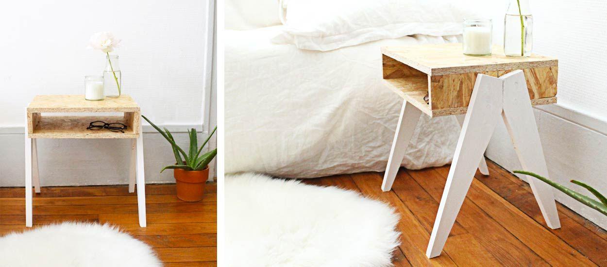 great tuto fabriquez une jolie table de nuit avec des pieds originaux with table de nuit. Black Bedroom Furniture Sets. Home Design Ideas