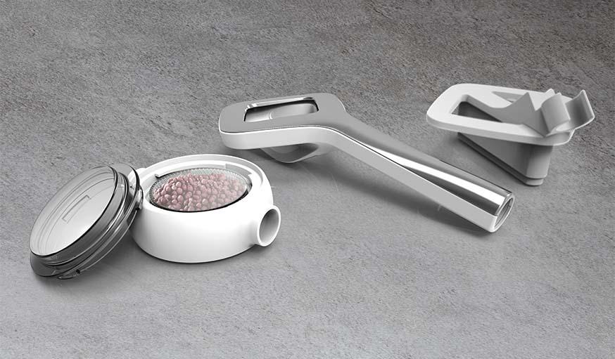 """Les différents accessoires pour une douche écolo et une expérience """"spa à la maison""""."""