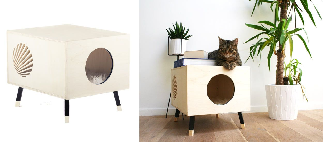 krab une niche en bois design pour chat couchage pour chat d int rieur. Black Bedroom Furniture Sets. Home Design Ideas