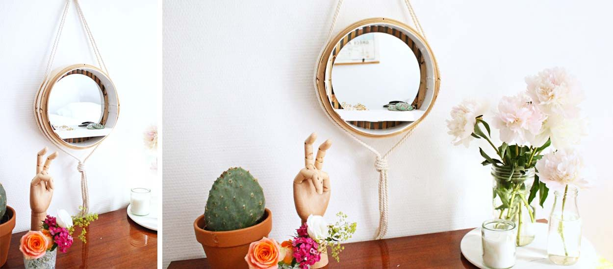 Tuto : Fabriquez un miroir tendance avec un panier chinois