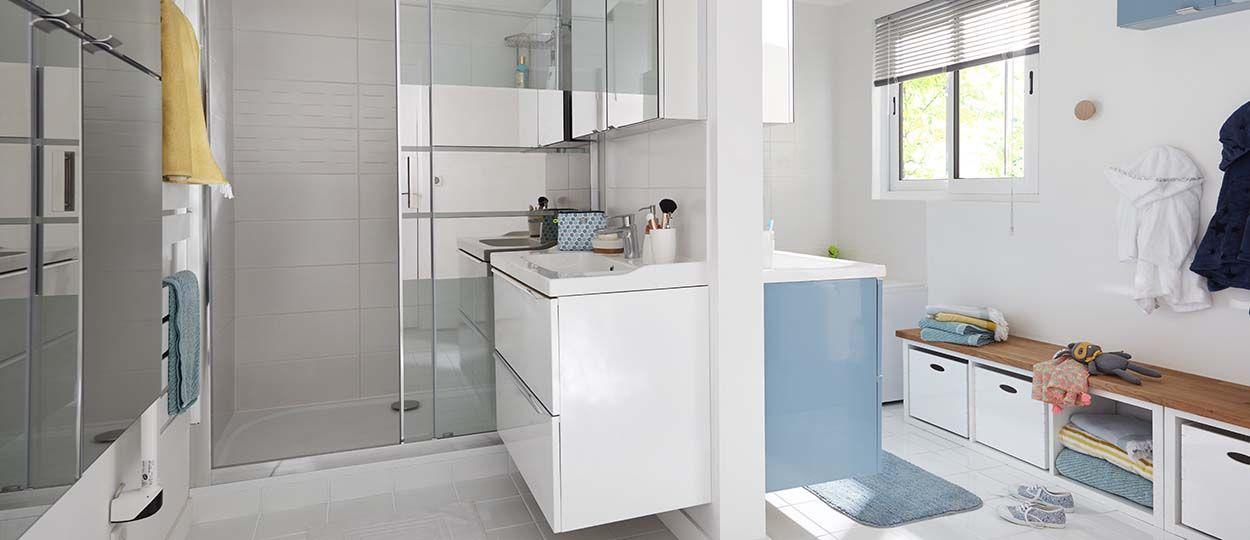 Astuces pour am nager une salle de bains familiale - Gain de place salle de bain ...