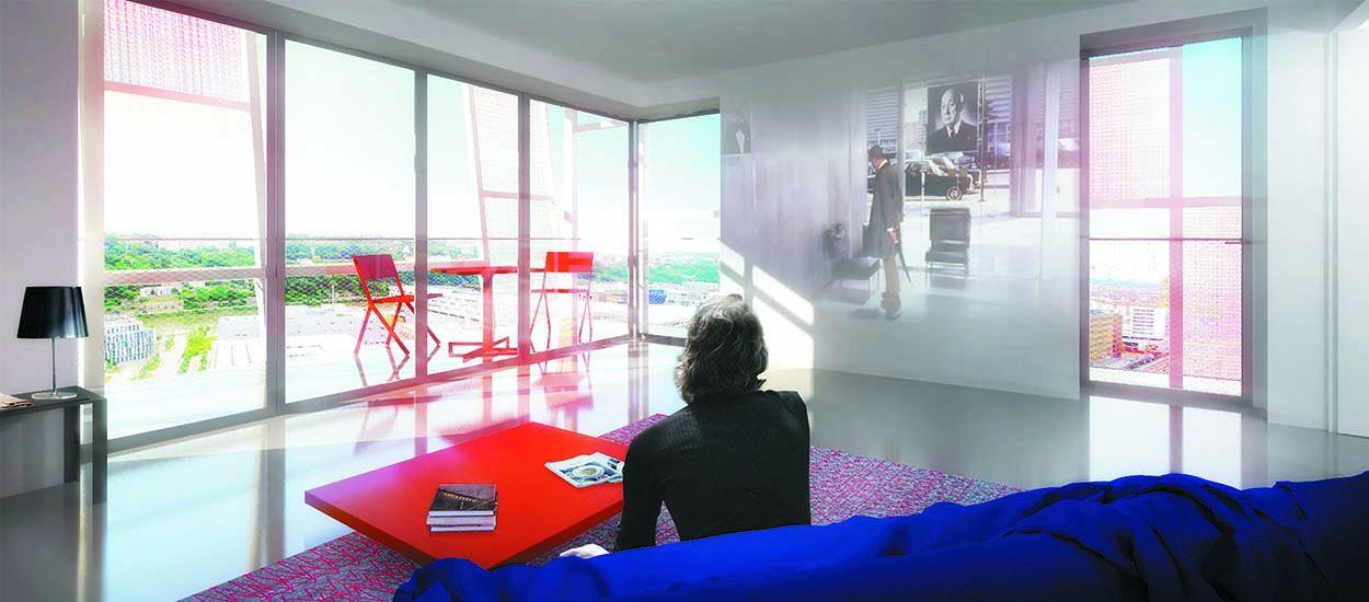 Découvrez la superbe tour de Jean Nouvel et ses doubles façades en verre coloré