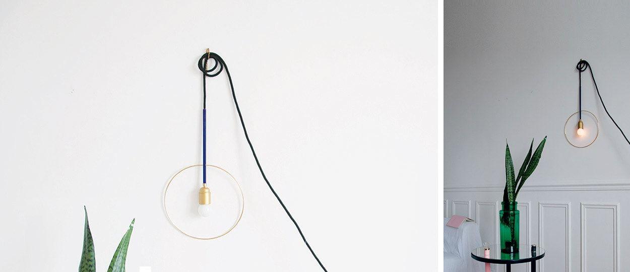 diy construire une lampe au style minimaliste lampe baladeuse g om trique. Black Bedroom Furniture Sets. Home Design Ideas