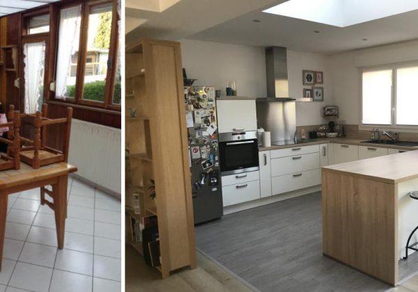 Travaux avant après : cuisine ouverte dans une extension et salon ...