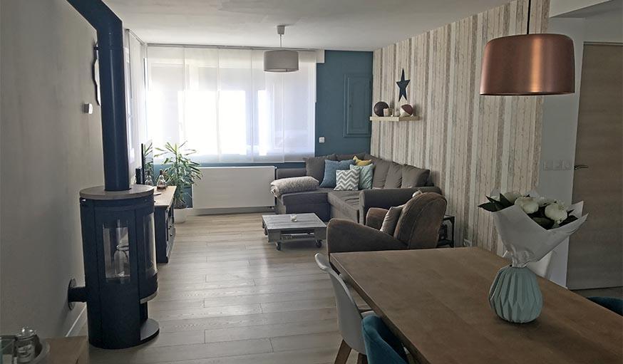 travaux avant apr s cuisine ouverte dans une extension et salon cocooning. Black Bedroom Furniture Sets. Home Design Ideas