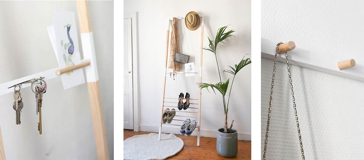 great diy amnagement entre cette chelle fait et hfr with fabriquer un portant. Black Bedroom Furniture Sets. Home Design Ideas