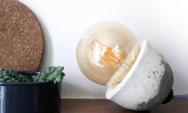 Tuto : 2 nuances de gris pour une lampe béton & plâtre