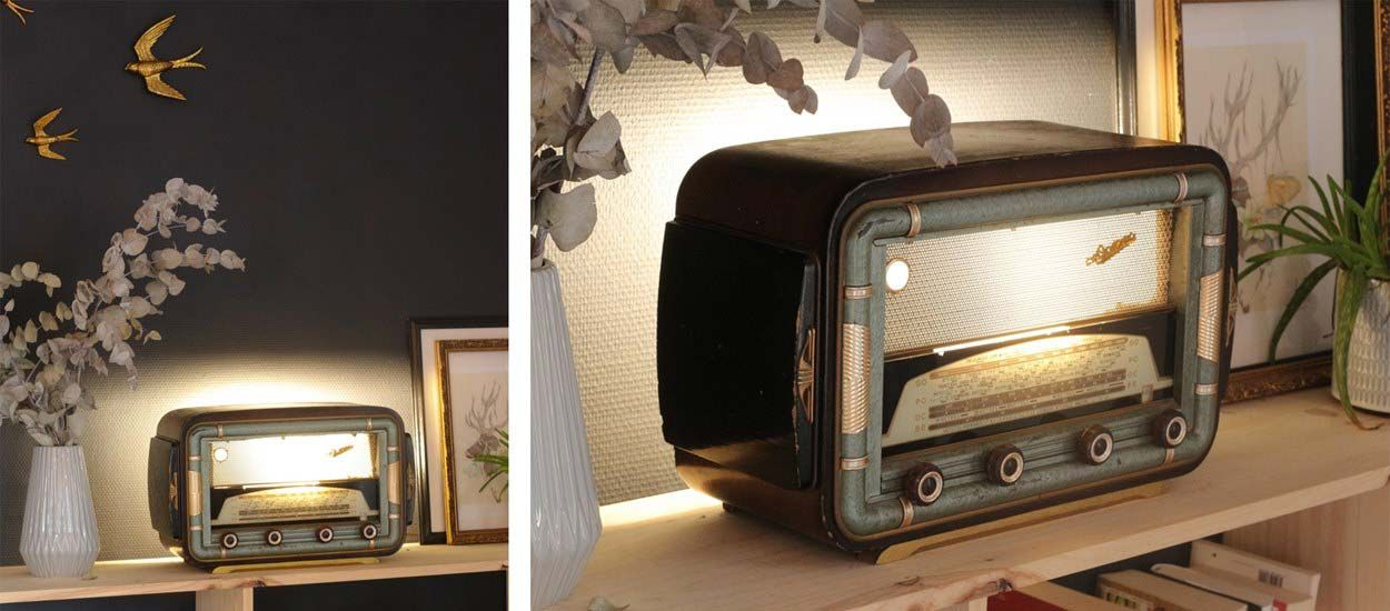 diy d co r tro transformez un poste de radio ancien en lampe poser vintage. Black Bedroom Furniture Sets. Home Design Ideas