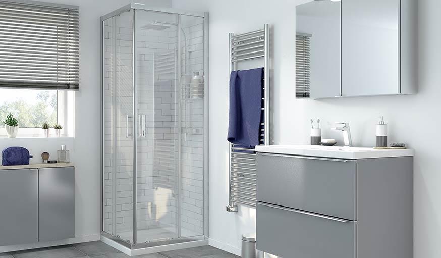 Porte de douche en angle transparente Beloya par Cooke & Lewis.