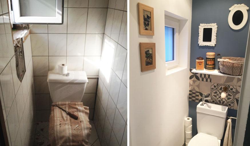 Les toilettes du rez-de-chaussée, avant et après.