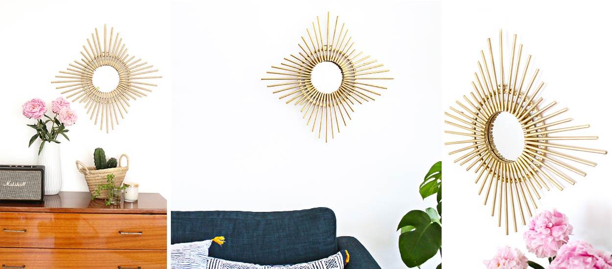 diy miroir soleil fabriquez vous un miroir tendance et pas cher. Black Bedroom Furniture Sets. Home Design Ideas