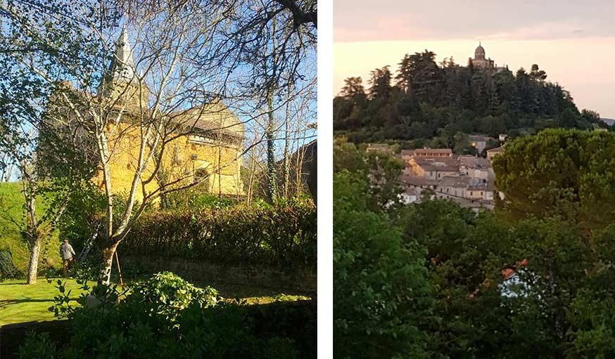 Le Castet du Gers classé monument historique (à gauche) et paysage pris des Alpes-de-Haute-Provence, au petit matin (à droite).