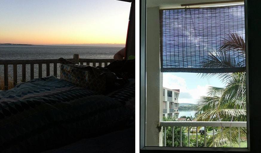 Vue sur la mer à St Georges de Didonne en Nouvelle-Aquitaine le 24 juin (à gauche) et à la Trinité en Martinique (à droite).