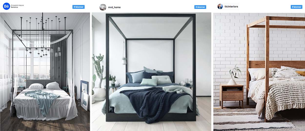 tendance lit baldaquin avec ou sans voilage inspiration d co. Black Bedroom Furniture Sets. Home Design Ideas