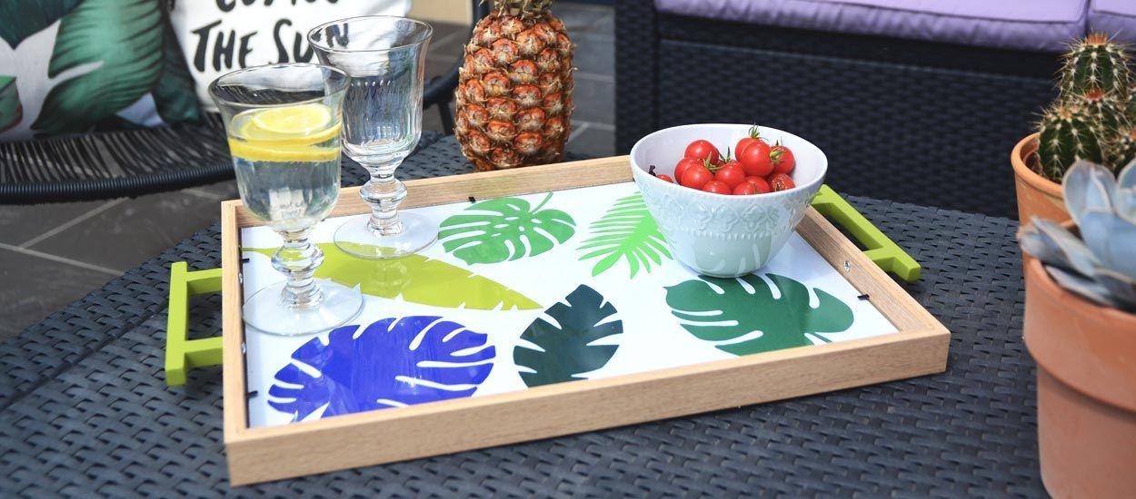 Tuto : Fabriquez très facilement un joli plateau tropical, l'atout déco de l'été !