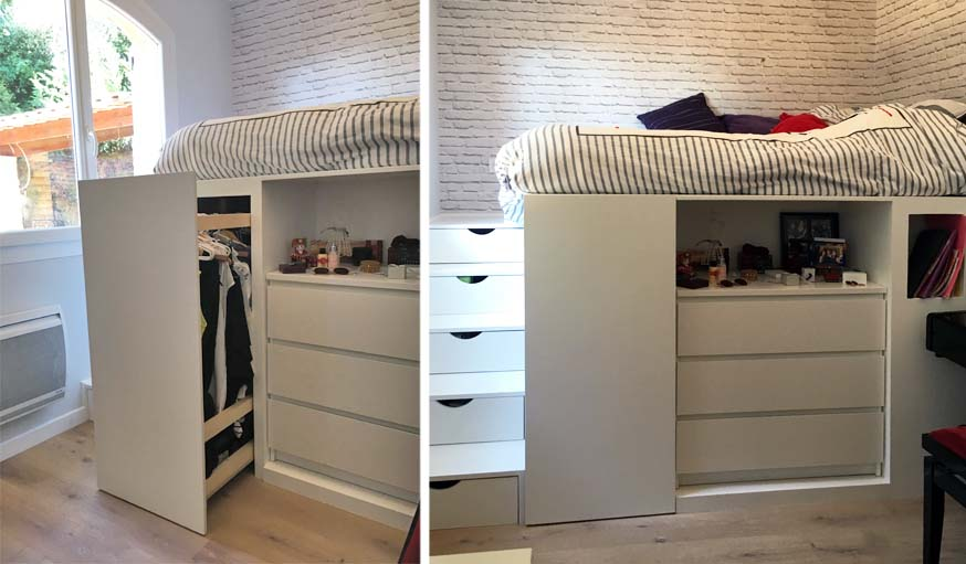 Dressing gain de place 4 solutions d architectes pour - Penderie sous comble ...