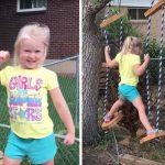 Lylah adore le parcours d'obstacles construit par son père.
