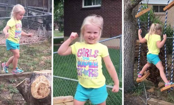 Ce père génial a construit un parcours de ninja pour sa fille de 5 ans