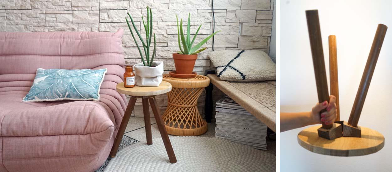 Diy table d 39 appoint en bois pas cher et facile fabriquer - Fabriquer une table d appoint ...