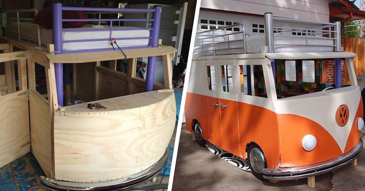 chambre d enfant construire un lit original en forme de bus 18h39. Black Bedroom Furniture Sets. Home Design Ideas