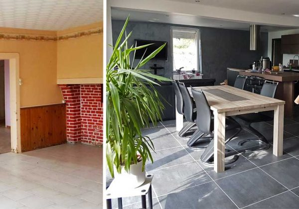 Avant-Après : Casser des murs porteurs pour aménager une cuisine ouverte