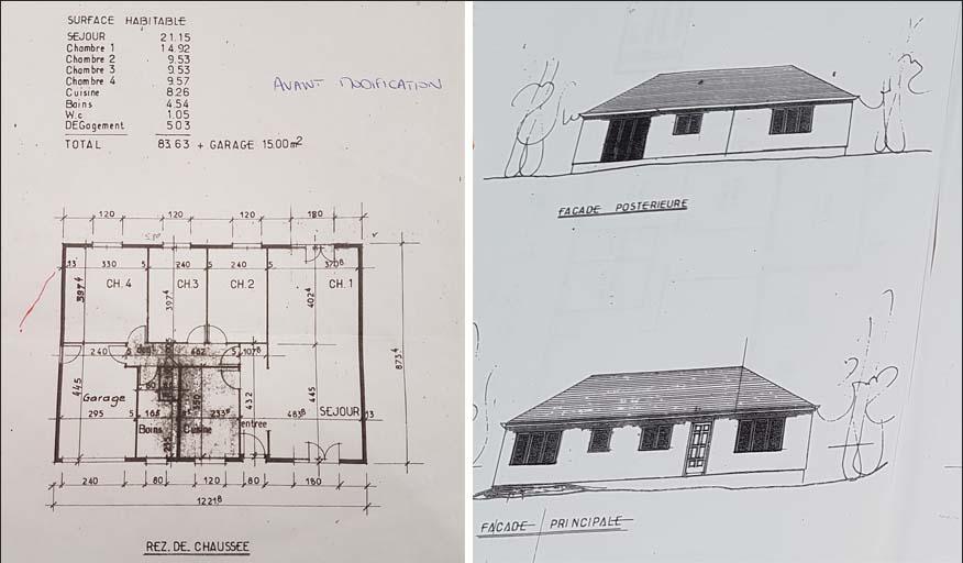 Le plan de la maison avant / Vue de l'expérieure