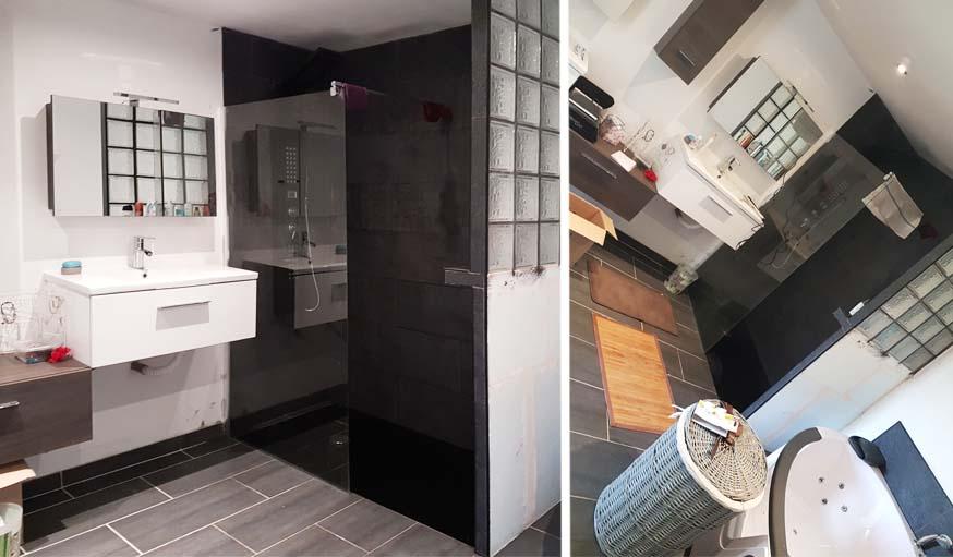 La salle de bains aujourd'hui, avec douche à l'italienne...