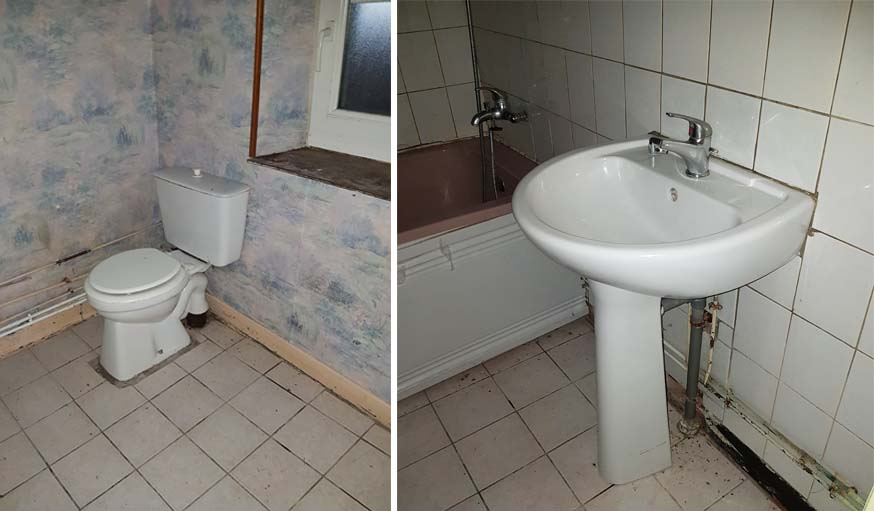 La salle de bains avant.