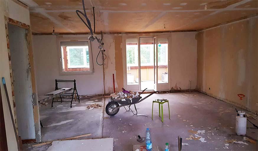 Le salon en travaux