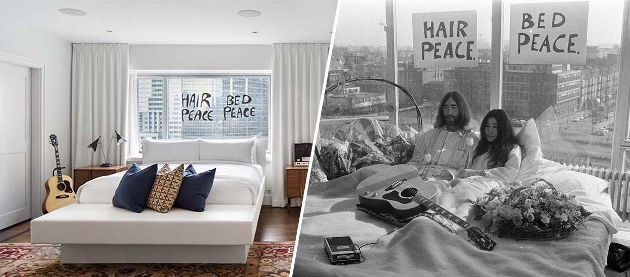 Une chambre d'hôtel redécorée en hommage au bed in for peace de John Lennon et Yoko Ono