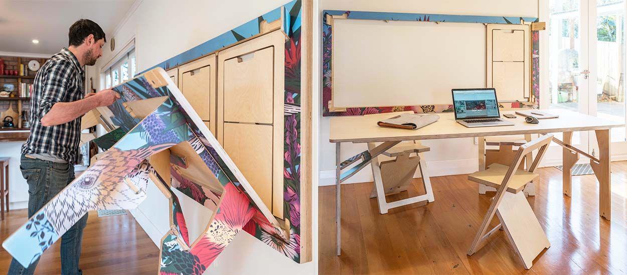 table qui se replie contre le mur gallery of lit escamotable plateau mobile with table qui se. Black Bedroom Furniture Sets. Home Design Ideas