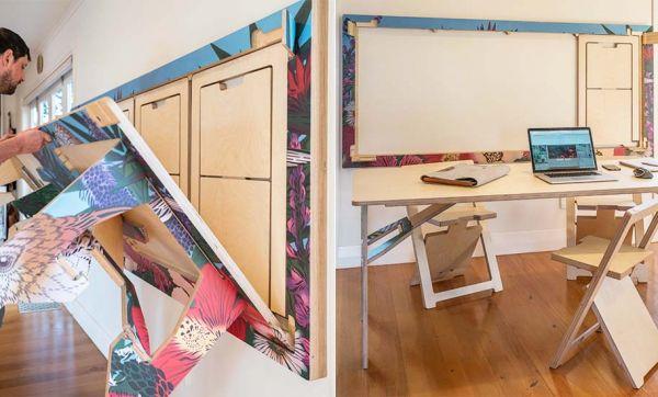 Snap Jack permet de ranger facilement une table et ses chaises en les accrochant au mur