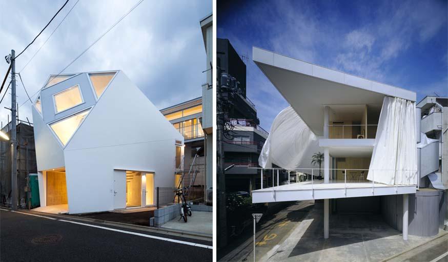 Yasuhiro Yamasita & Azusa Ishii - Monoclinic Curtain (2012) / Shigeru Ban - Curtain wall house (1965).