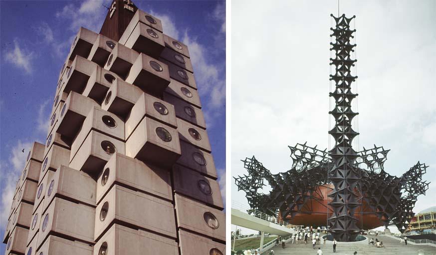 Kishô Kurokawa - Nakagin Capsule Tower (1972) / Kishô Kurokawa - Pavillon Toshiba IHI (1970).