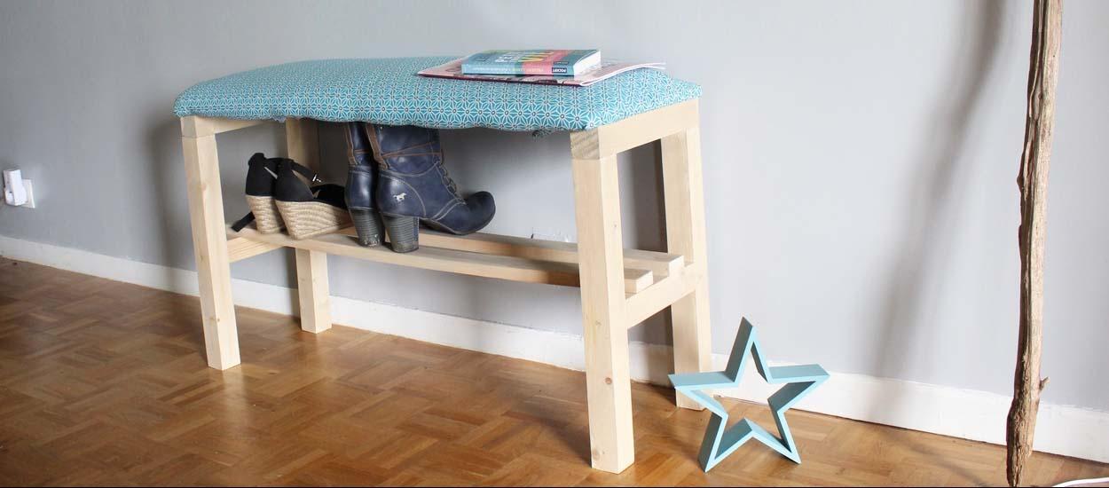tuto fabriquer un banc chaussures meuble chaussures. Black Bedroom Furniture Sets. Home Design Ideas