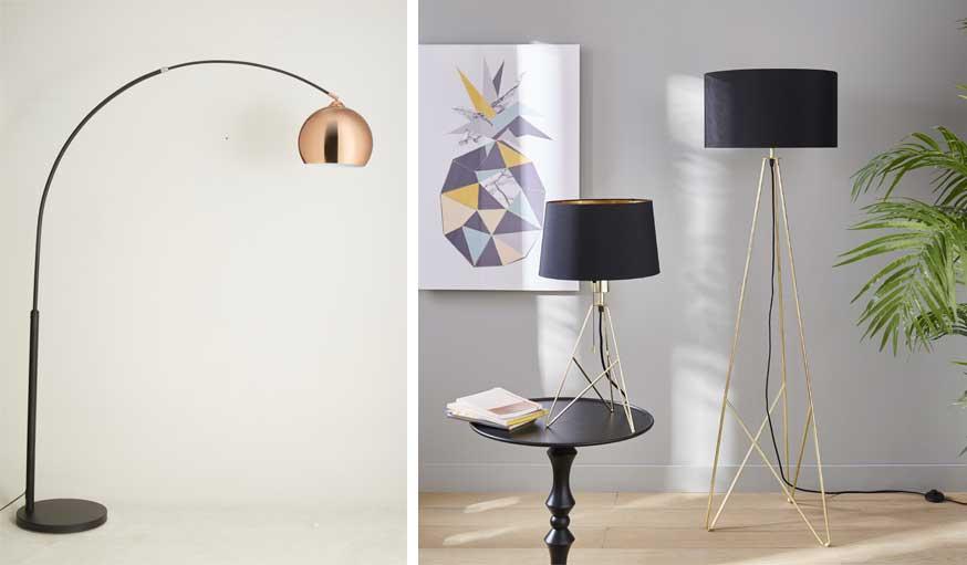 À gauche, le lampadaire Néreide ; à droite les lampes Becky.
