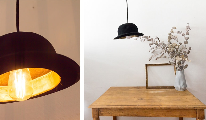diy r cup lampe fabriquez une suspension originale avec un chapeau. Black Bedroom Furniture Sets. Home Design Ideas