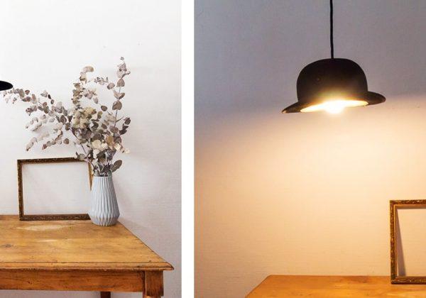 diy récup lampe - fabriquez une suspension originale avec un chapeau