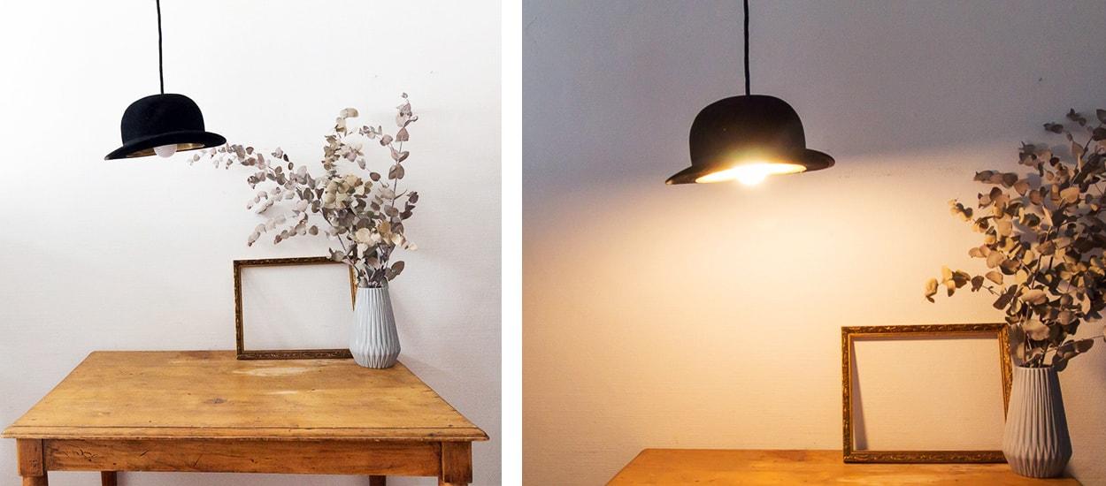 diy r cup lampe fabriquez une suspension originale avec un chapeau. Black Bedroom Furniture Sets. Home Design Ideas