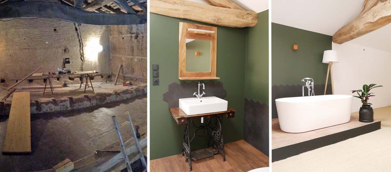 Zoom sur la baignoire sur estrade dans cette grange - Estrade salle de bain ...
