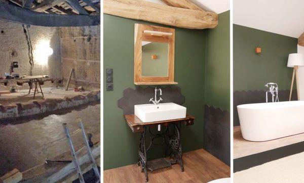 Avant / Après : Ils ont aménagé une salle de bains de rêve dans cette ancienne grange