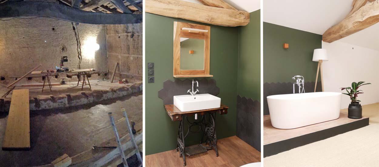 zoom sur la baignoire sur estrade dans cette grange r nov e. Black Bedroom Furniture Sets. Home Design Ideas