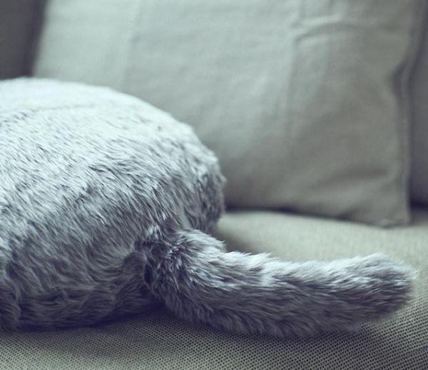 Cet étrange coussin en forme de chat remue la queue et ronronne !