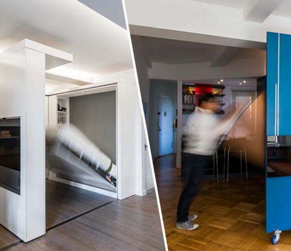 3 petits studios aux rangements optimisés grâce à des cloisons multifonctions !