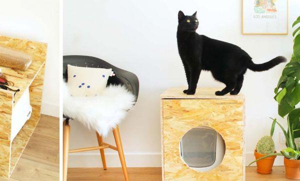 Tuto : une jolie caisse pratique pour cacher la litière de votre chat