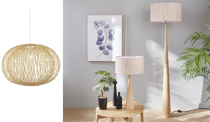 Suspension en rotin COLOURS Albarella et lampadaire et lampe à poser Conos.