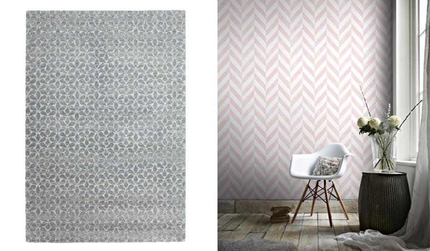 Tapis gris avec motifs géométriques blancs et papier peint vinyle sur intissé Italie rose.